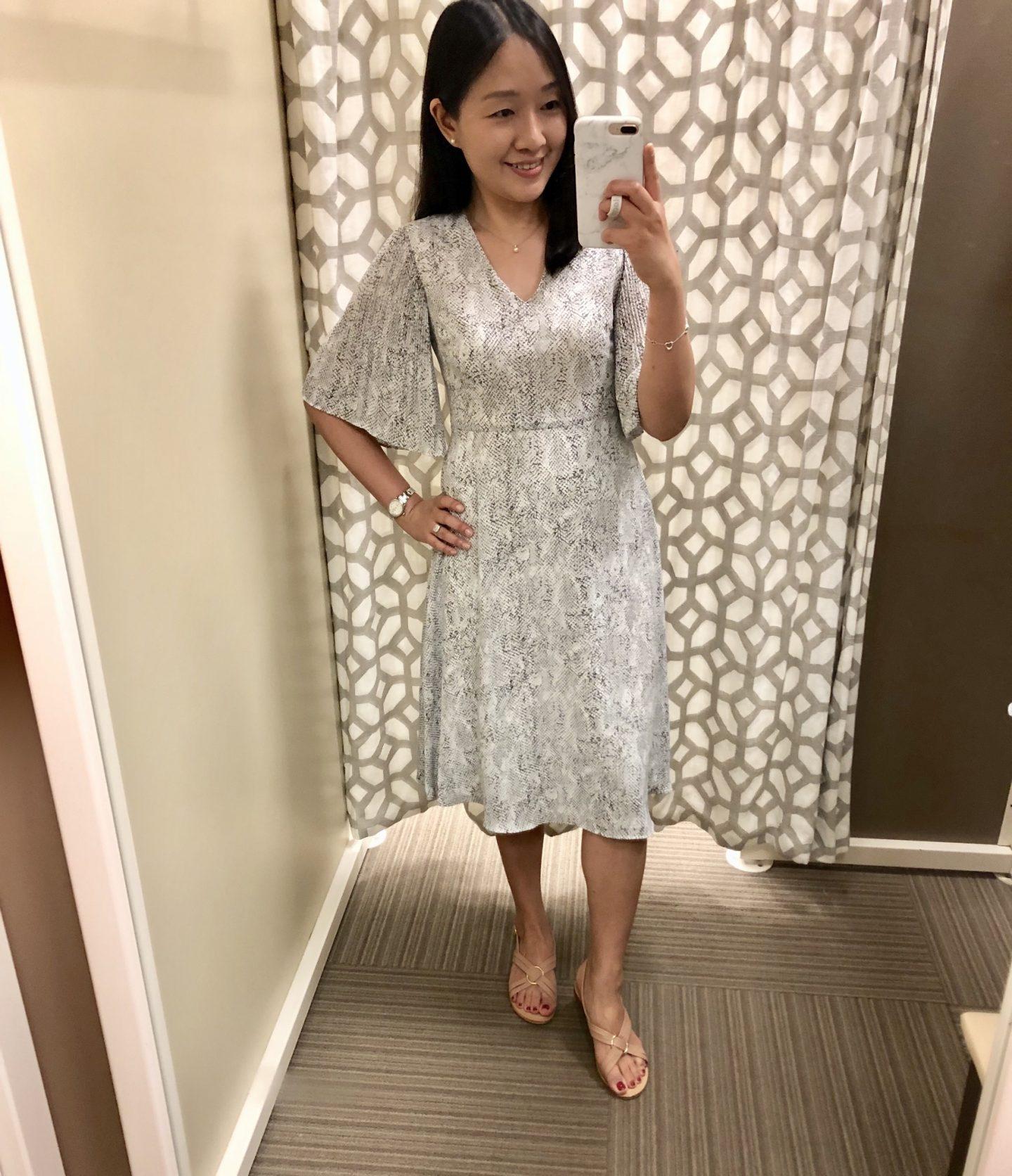 Ann Taylor Factory Snake Print Petal Sleeve Midi Dress, size 0P