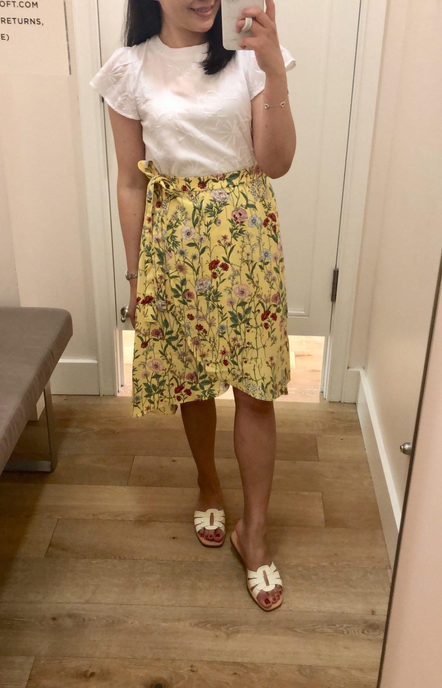LOFT Floral Wrap Skirt, size 0P