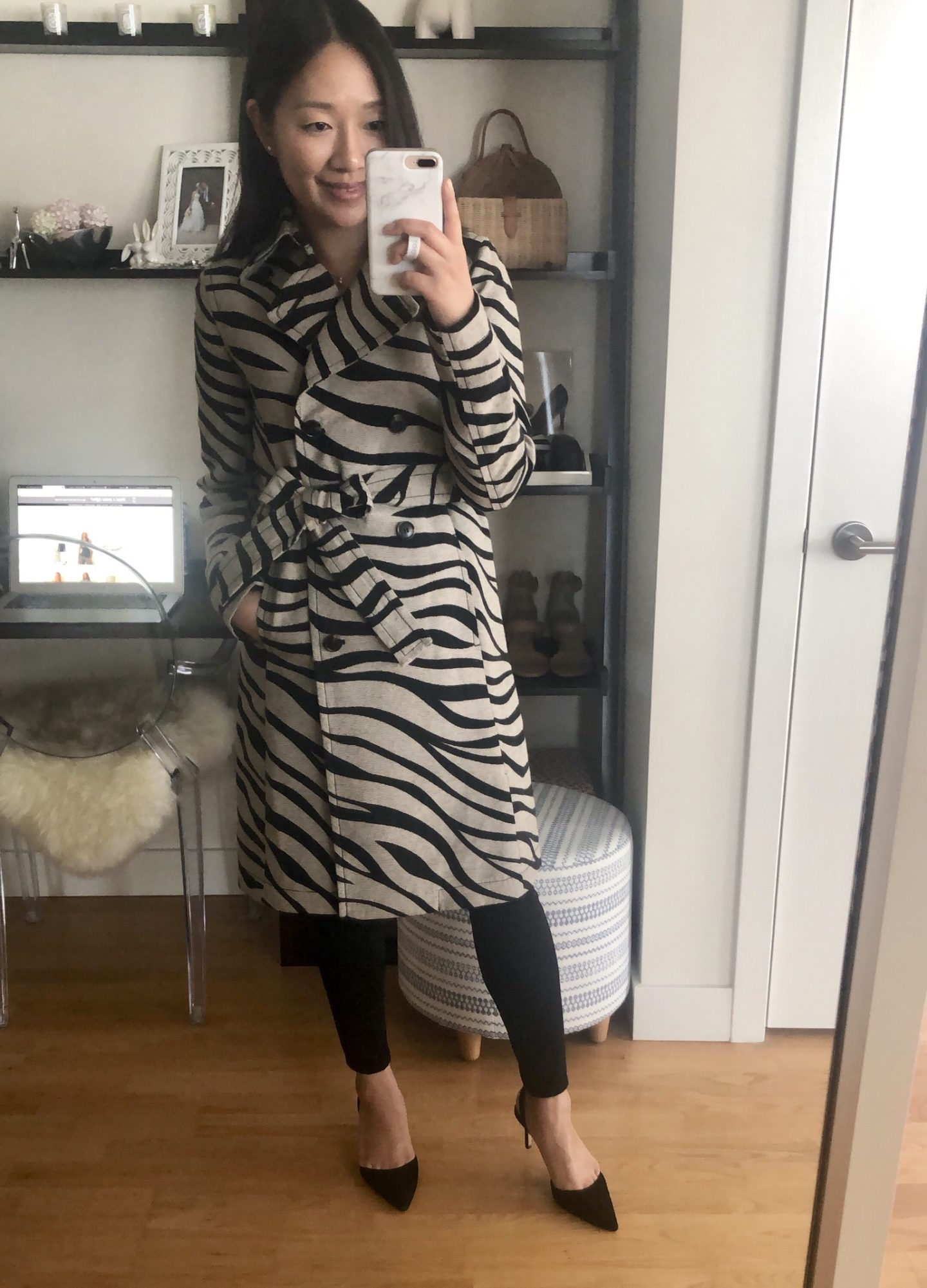 Zebra Print Trench Coat, size XXS regular