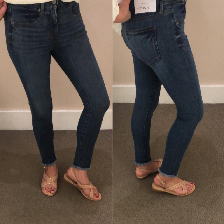 LOFT Frayed High Waist Slim Pocket Skinny Jeans in Original Mid Indigo Wash, size 25/0P