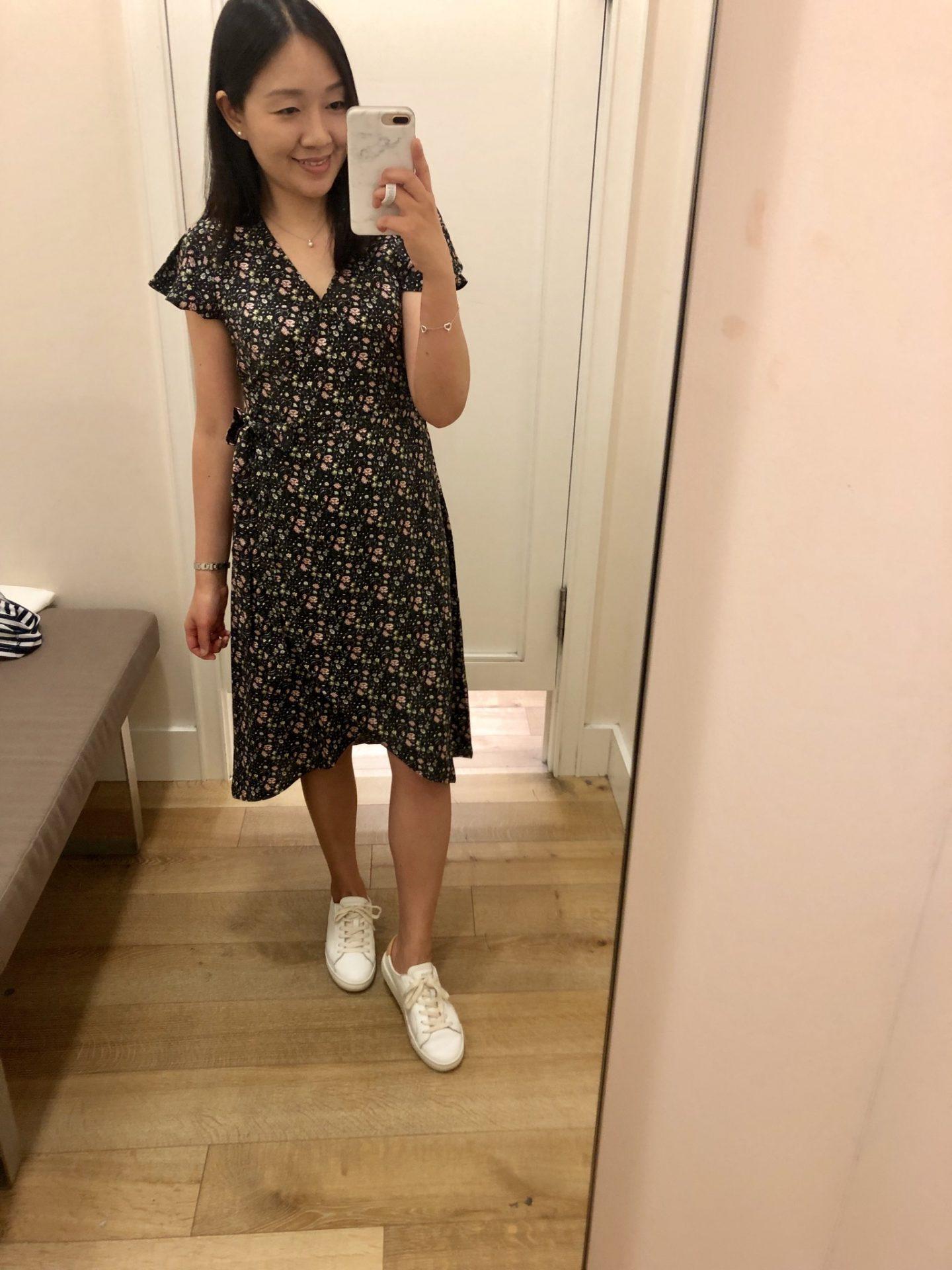 LOFT Vine Flutter Midi Wrap Dress, size 00P