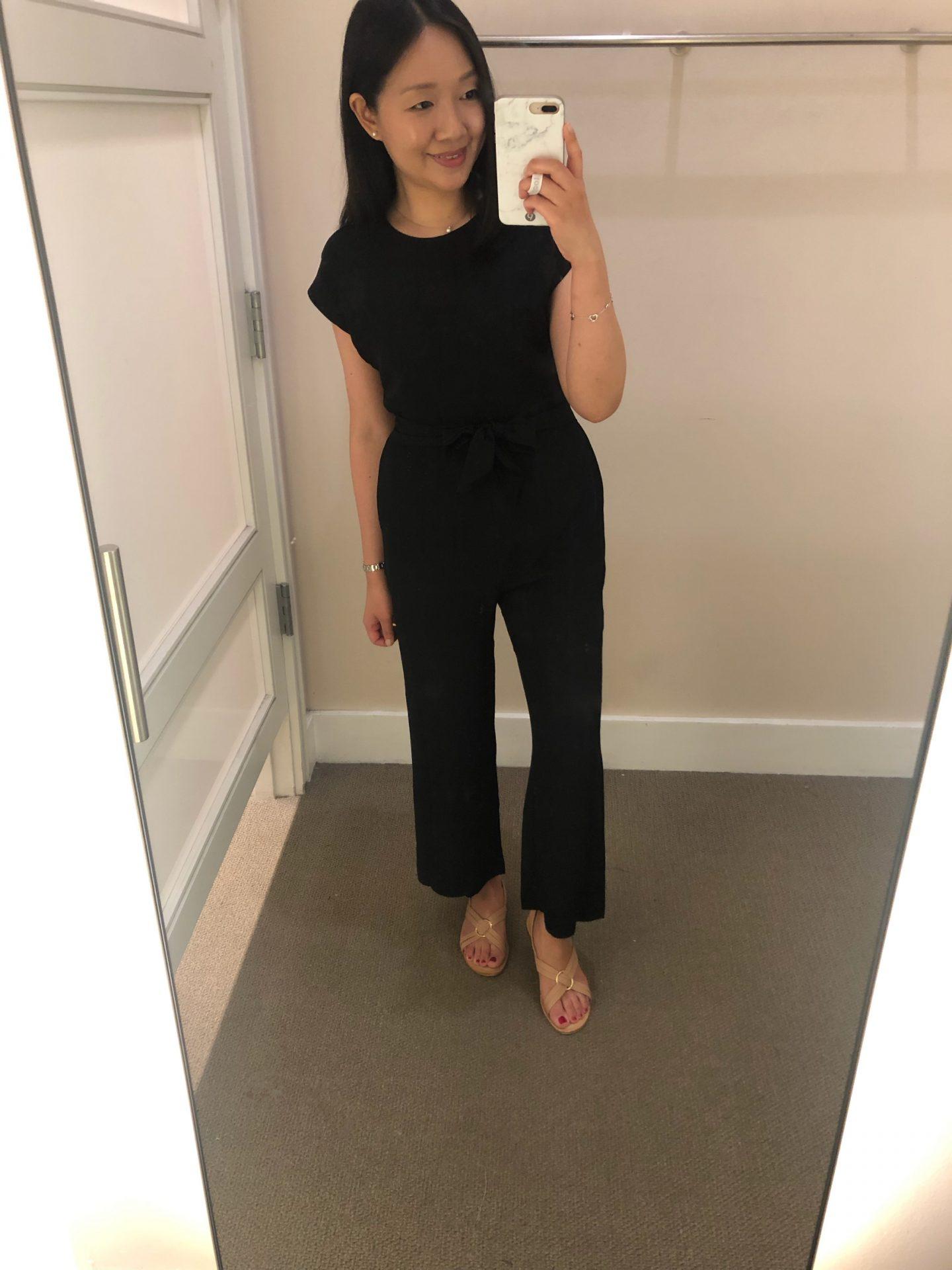 LOFT V-Back Tie Waist Jumpsuit, size 0P