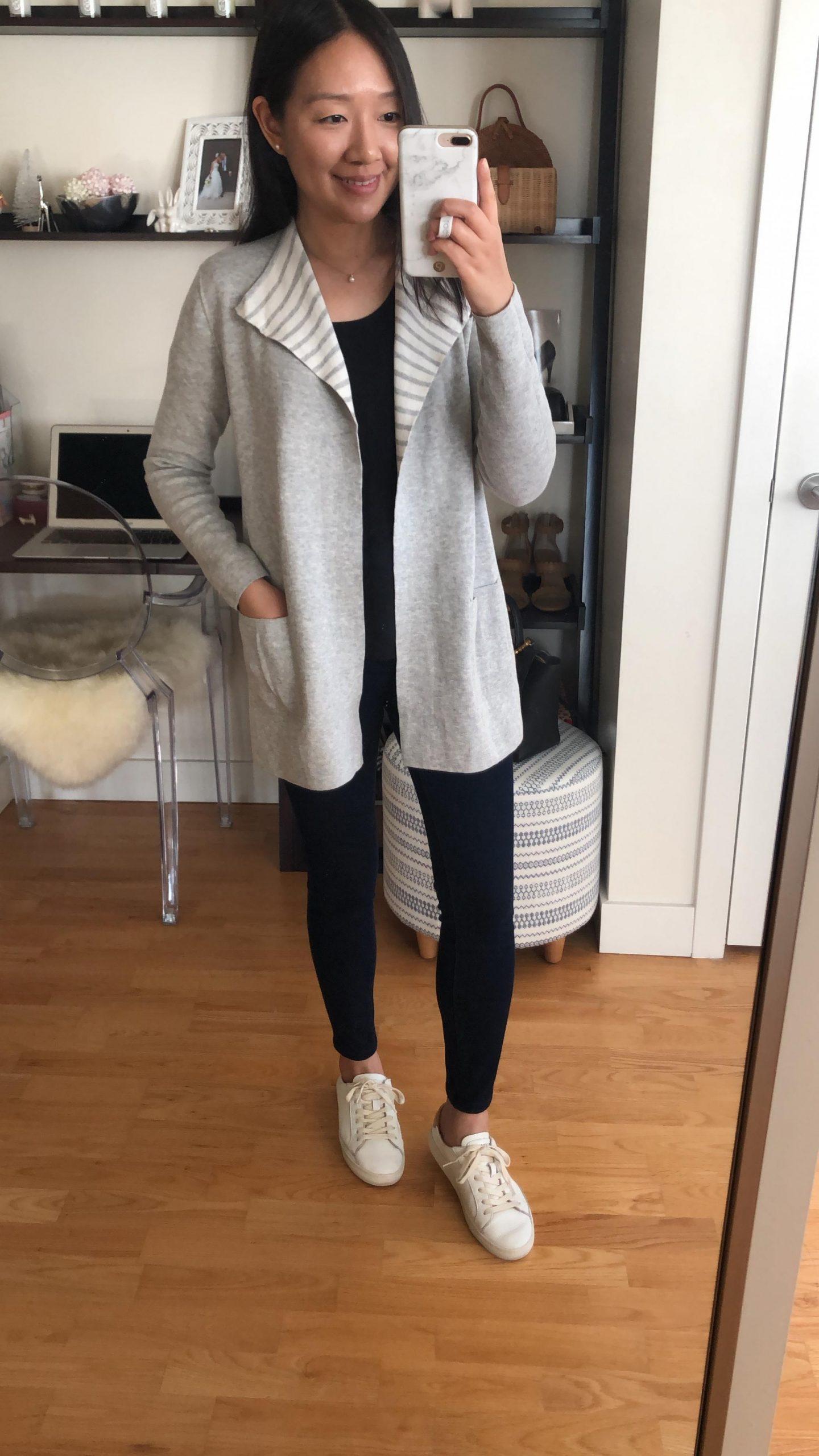 LOFT Striped Reversible Sweater Jacket, size XSP