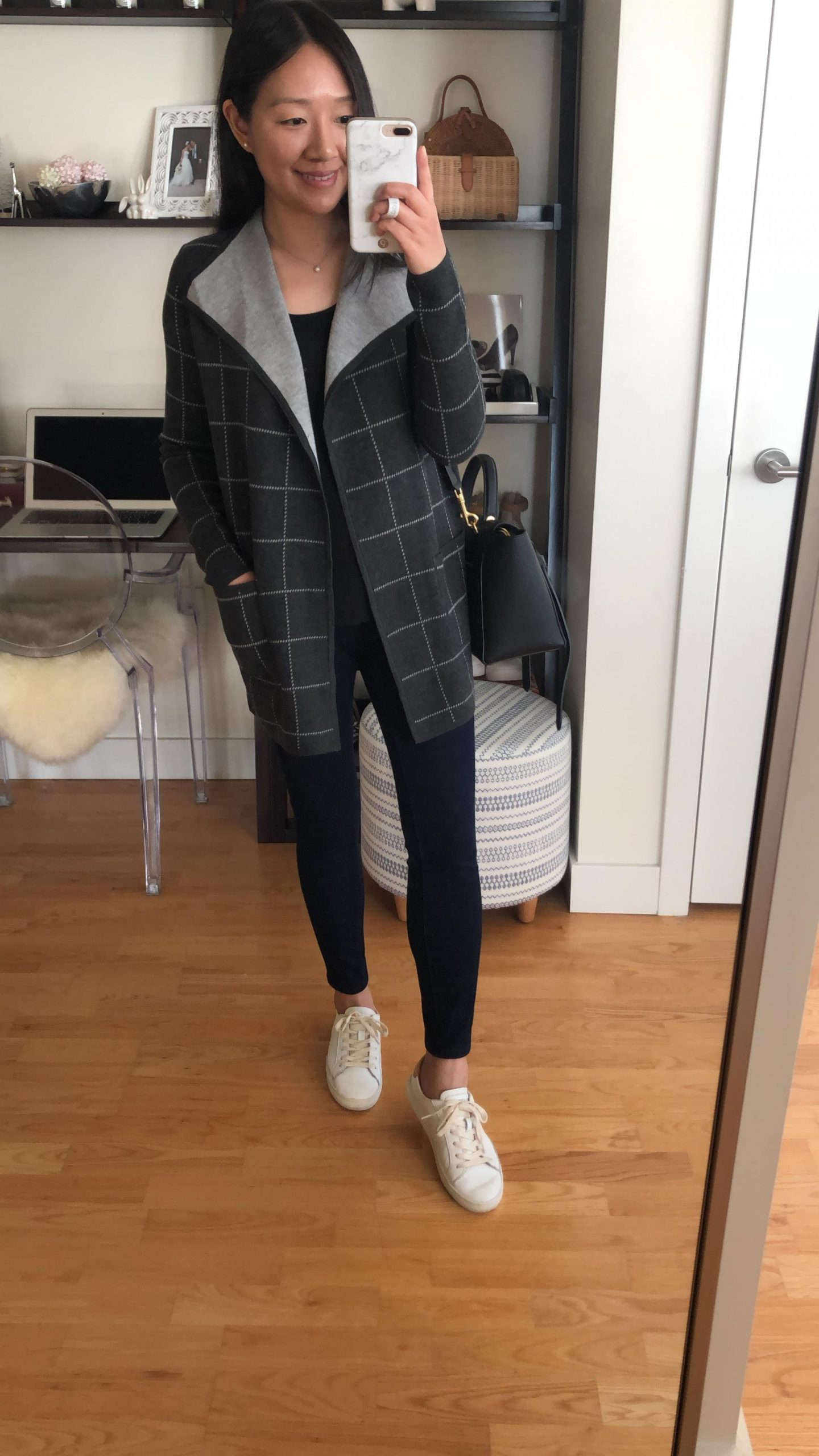 LOFT Plaid Reversible Sweater Jacket, size XXS regular