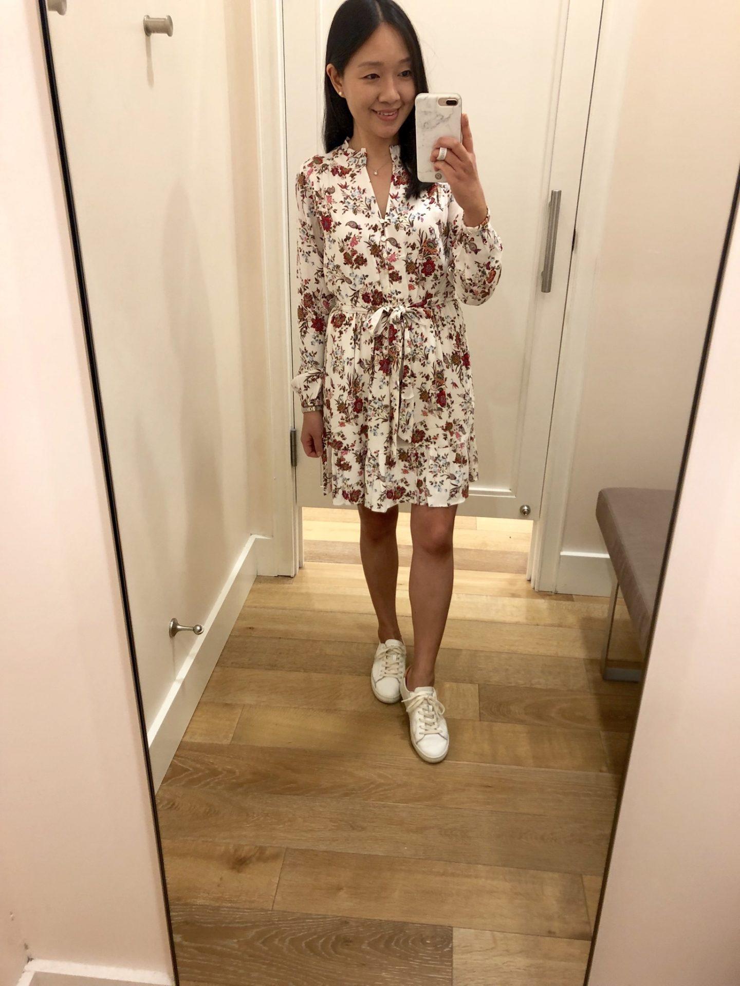 LOFT Floral Ruffle Hem Dress, size XXSP