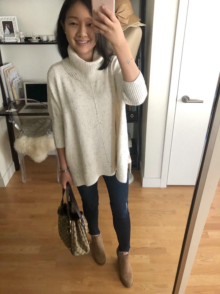 LOFT Flecked Turtleneck Poncho Sweater, size XXS regular