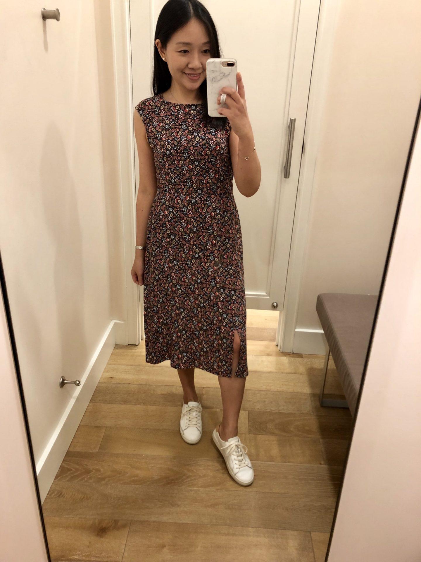 LOFT Vine Cap Sleeve Midi Dress, size 2P