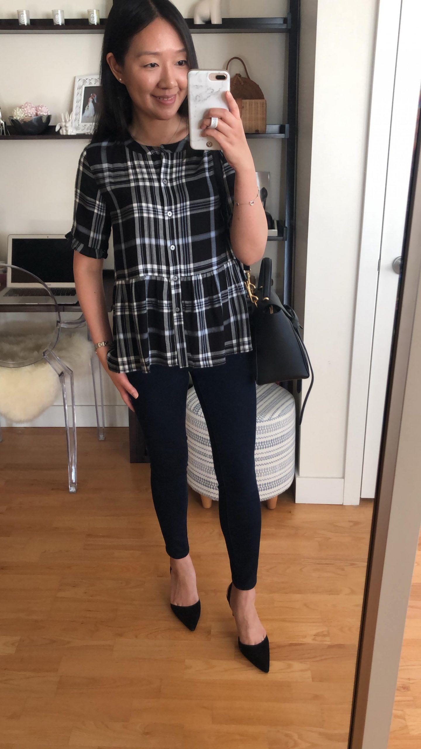 LOFT Plaid Peplum Shirt, size XXS regular
