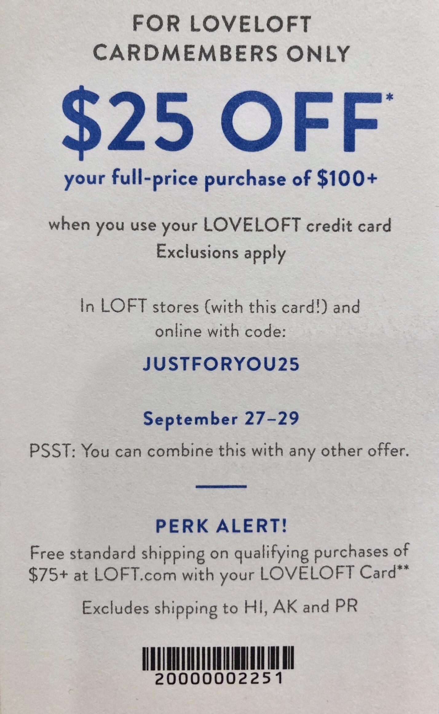 JUSTFORYOU25 LOVELOFT Cardmember Code