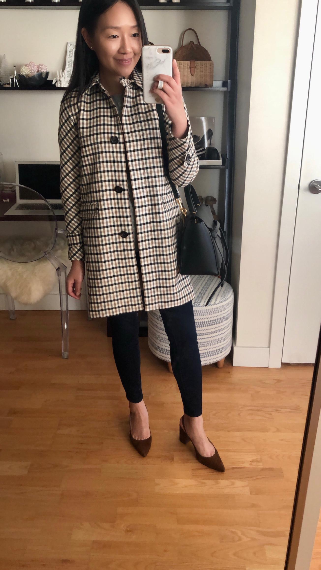 Ann Taylor Modern Plaid Coat, size XXSP