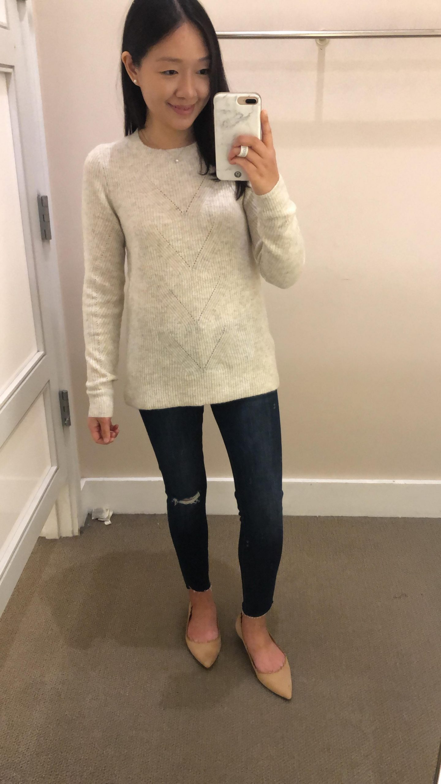 LOFT Pointelle Ribbed Sweater, size XS regular