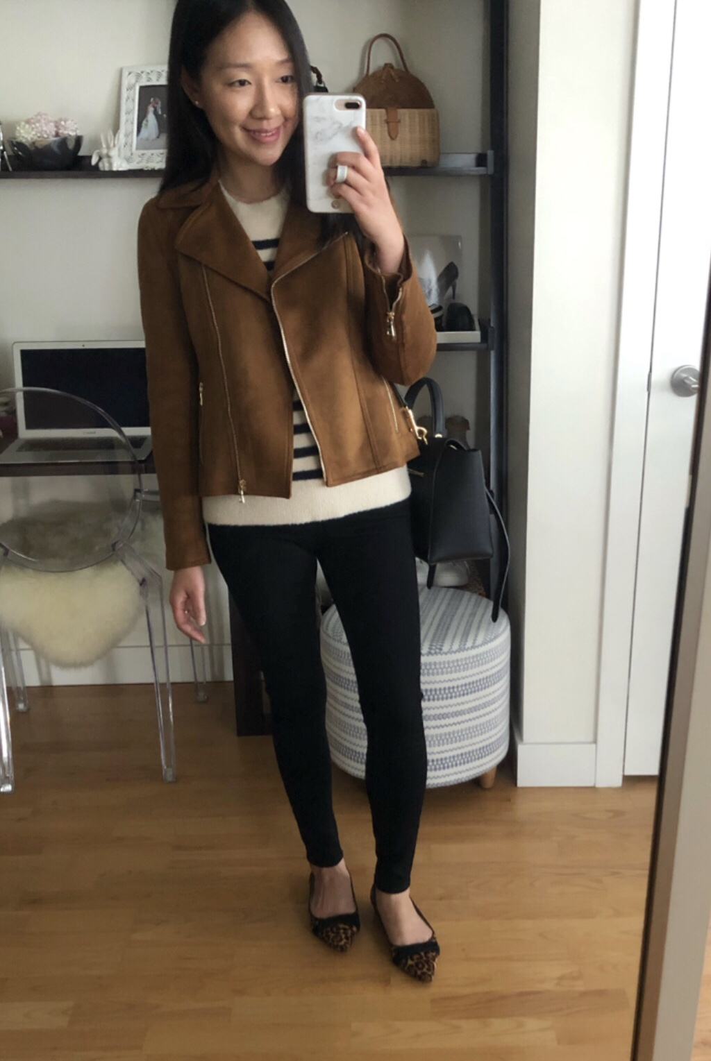 Ann Taylor Faux Suede Moto Jacket in dark maple, size XSP