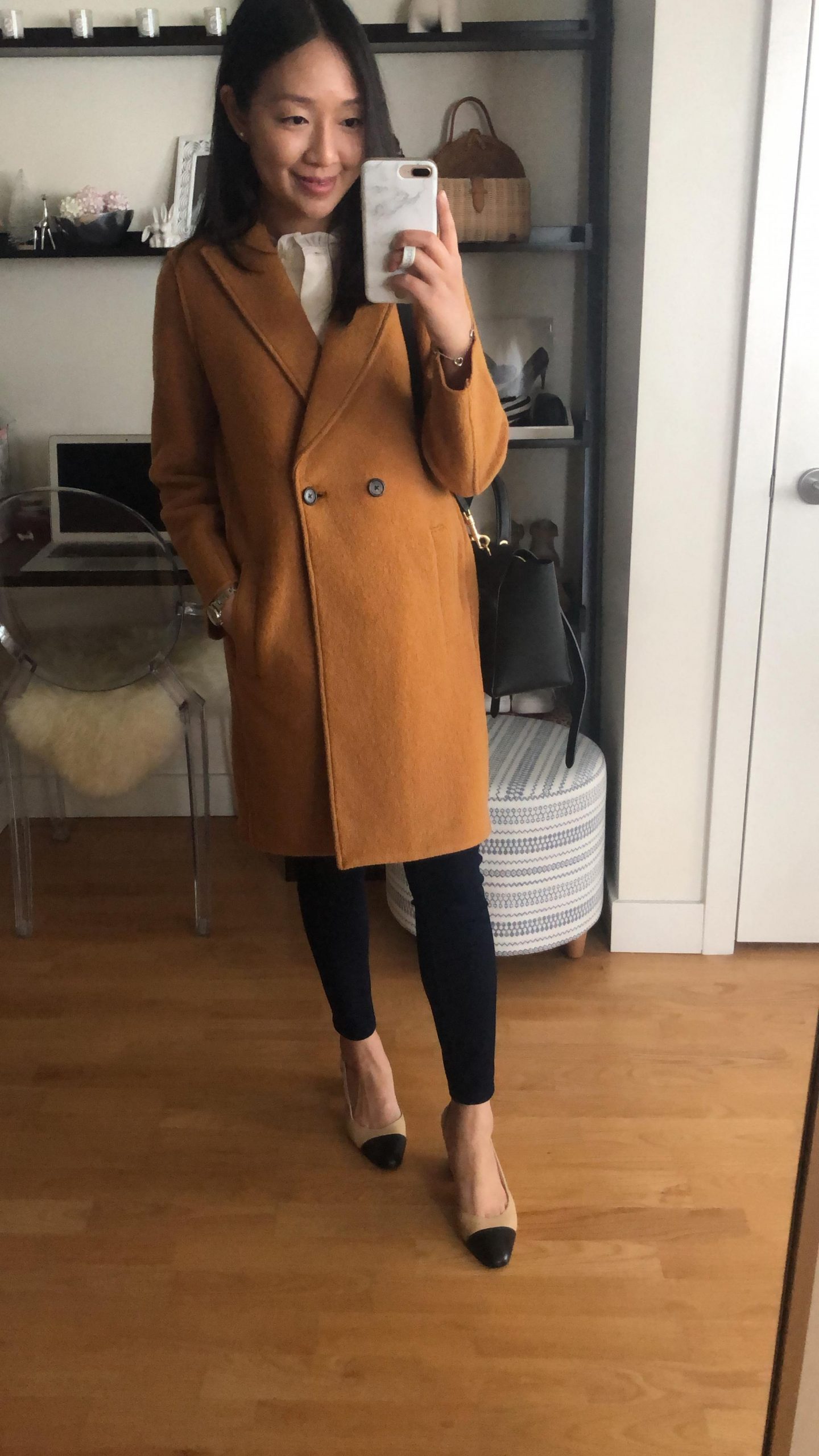 J.Crew Daphne topcoat in Italian boiled wool in warm caramel, size  00 regular