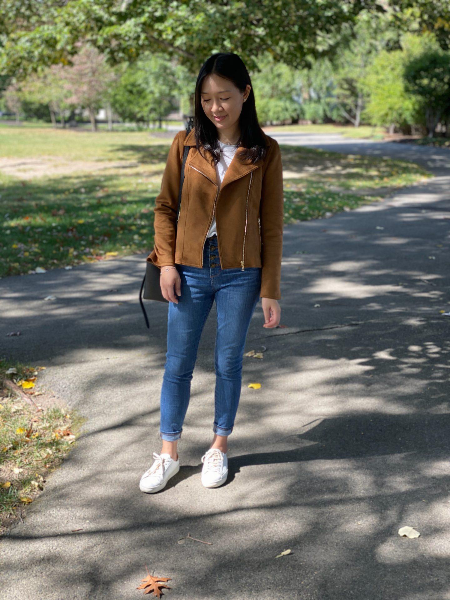 Ann Taylor Faux Suede Moto Jacket, size XSP