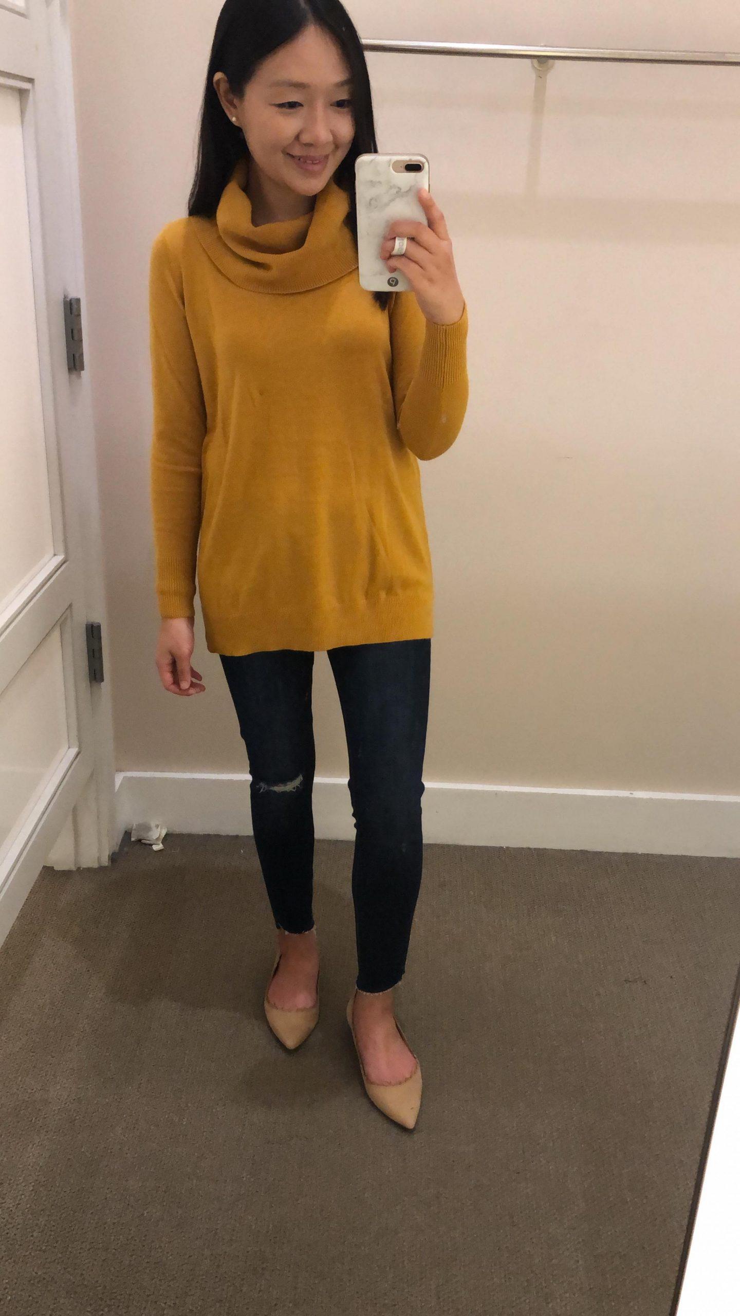 LOFT Luxe Knit Cowl Neck Tunic Sweater, size XSP