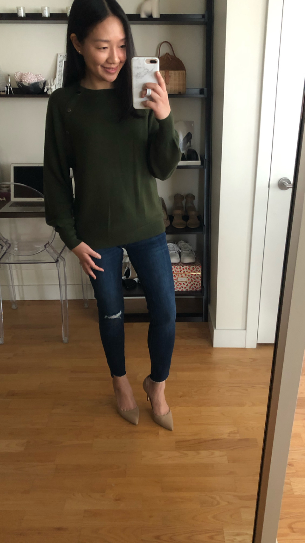 Ann Taylor Snap Trim Sweater, size XS regular