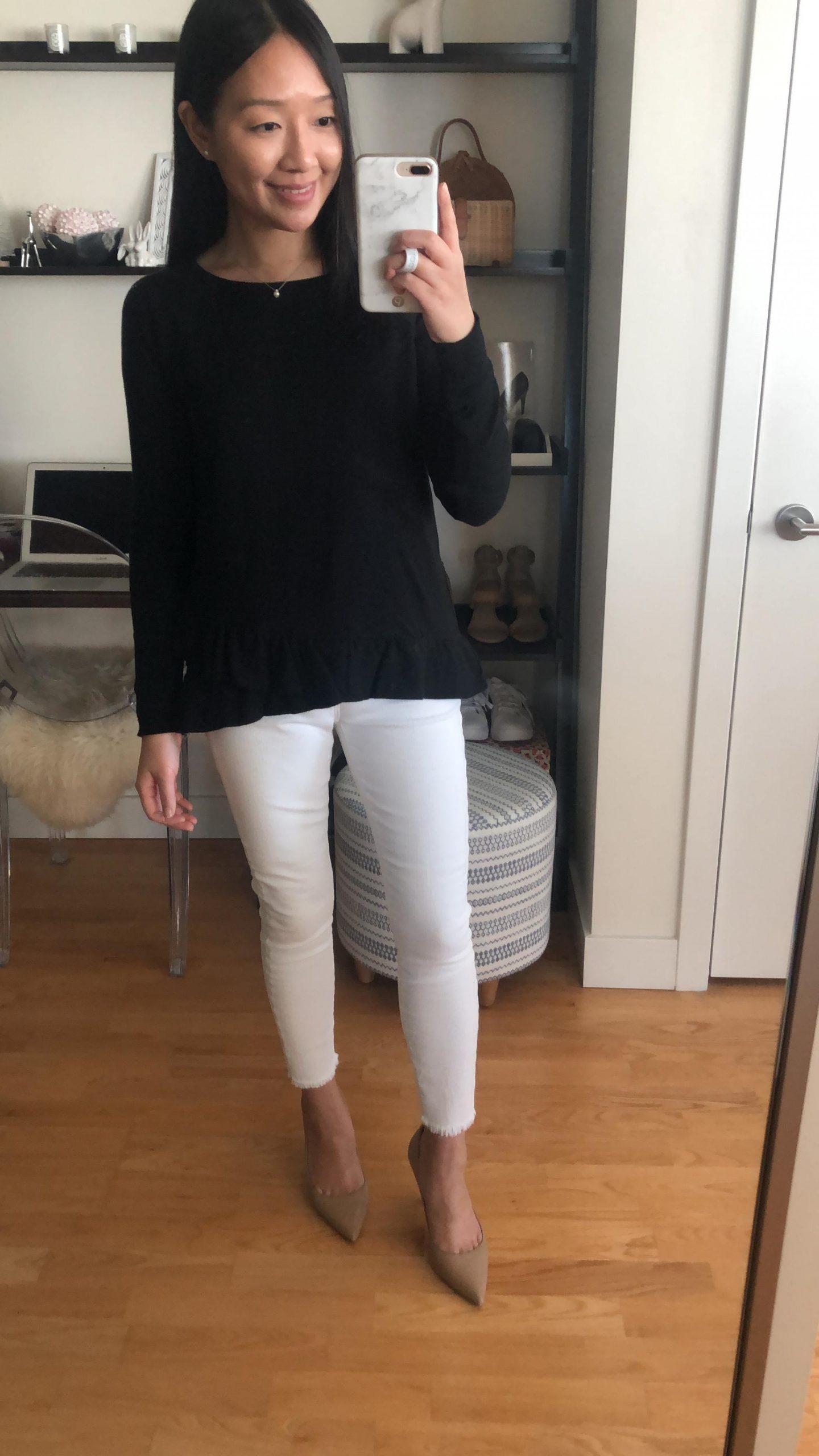LOFT Ruffle Hem Sweatshirt, size XXS regular