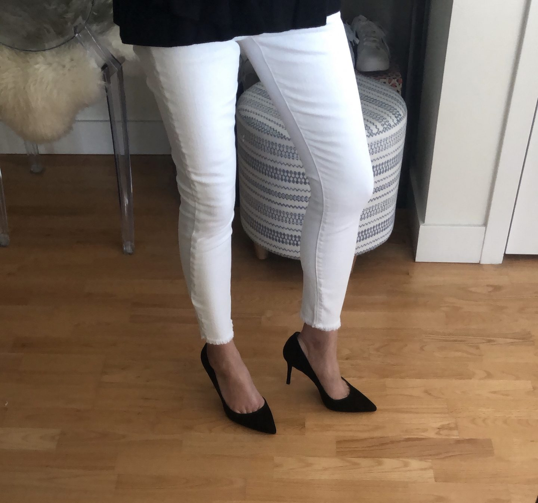 Ann Taylor High Waist Frayed Hem Skinny Jeans, size 25/0P