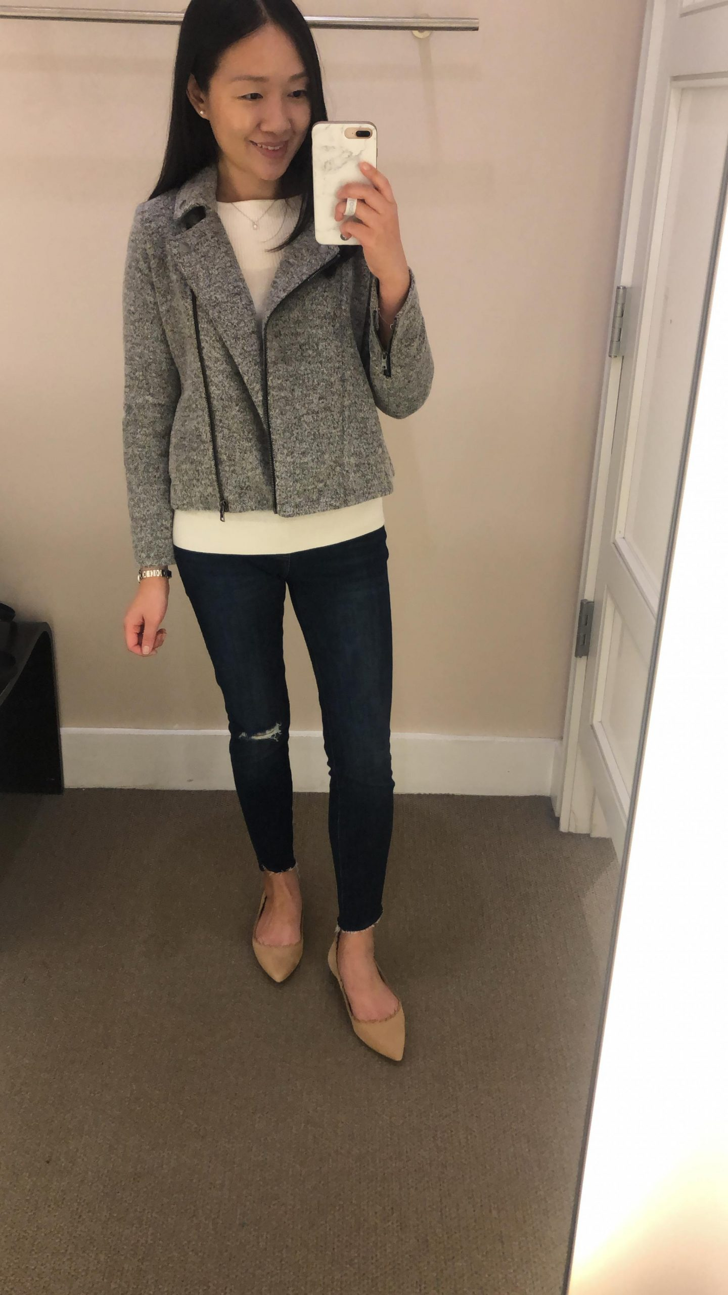 LOFT Textured Knit Moto Jacket, size XXSP