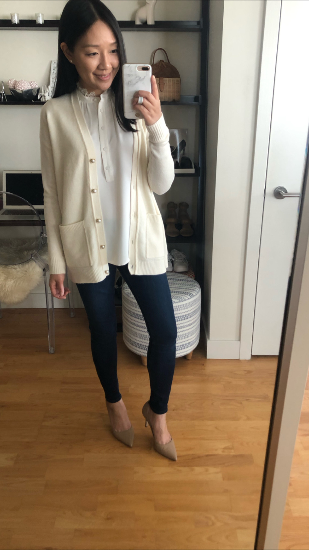 Ann Taylor Pearlized Button Boyfriend Cardigan, size XSP