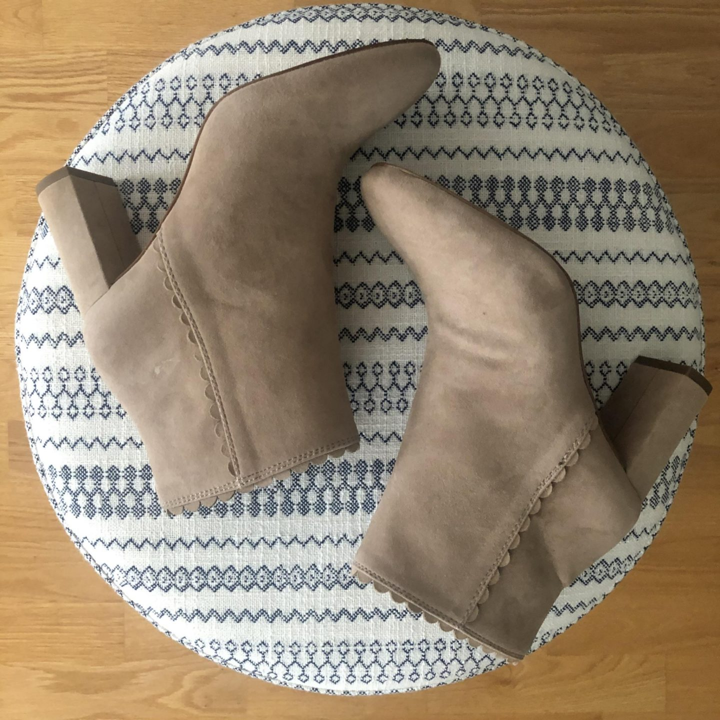 Ann Taylor Llana Suede Scalloped Heeled Booties