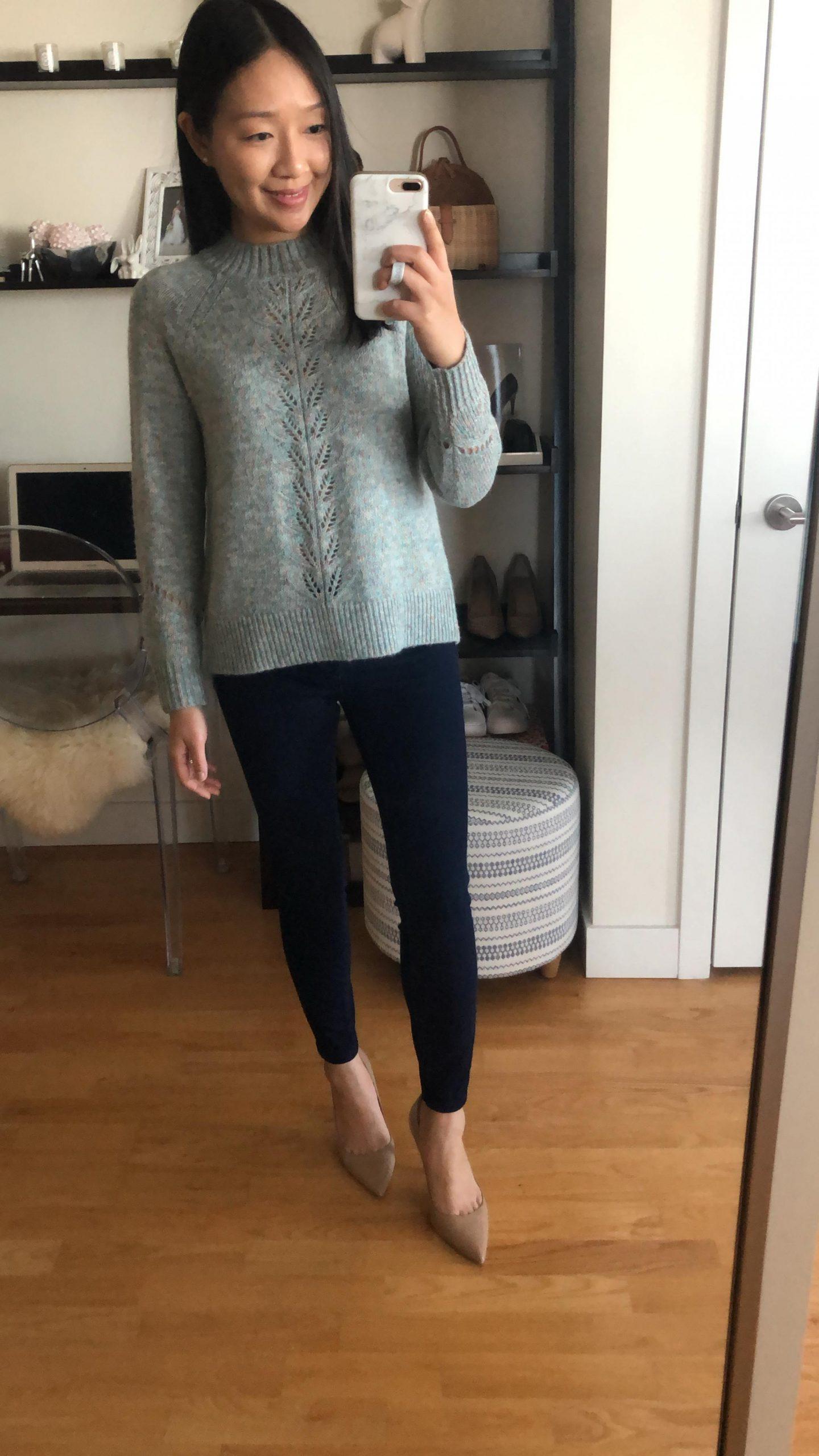 LOFT Marled Pointelle Sweater, size XSP