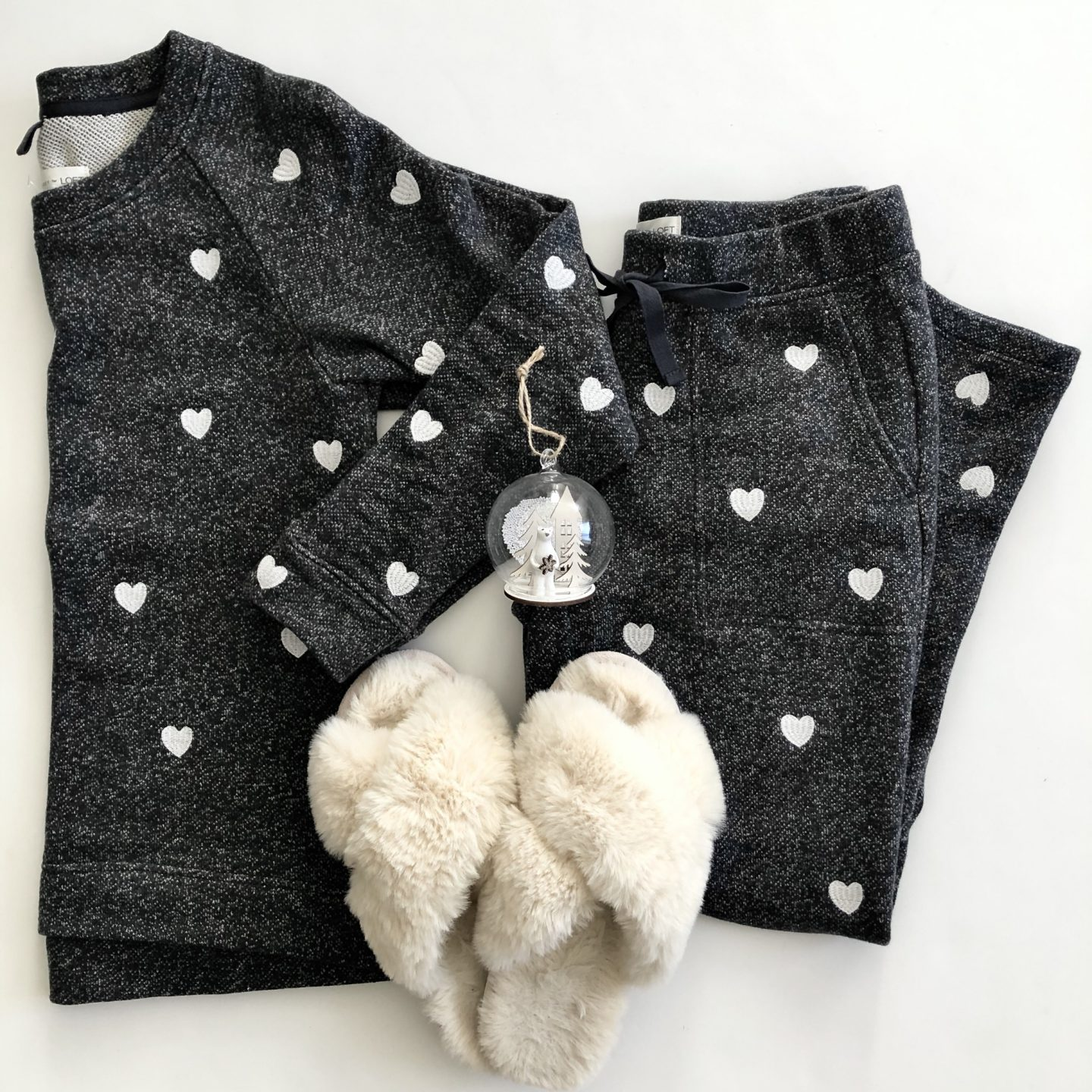 Lou & Grey Embroidered Heart Sweatshirt Set