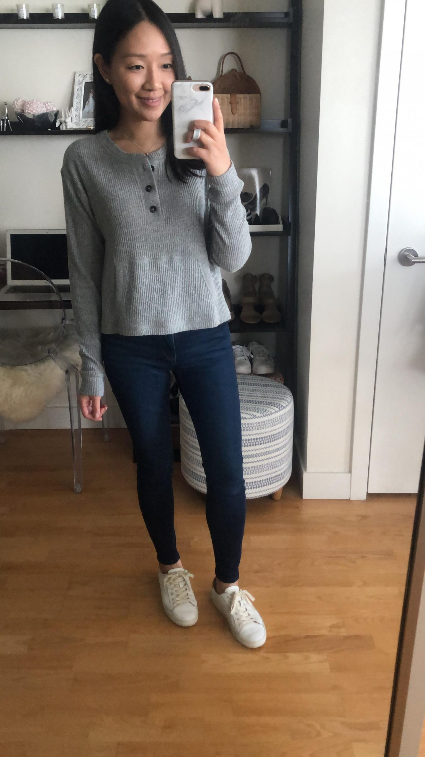 Abercrombie Cozy Ribbed Henley, size XS