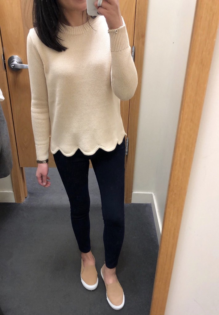 J.Crew Factory Scallop Hem Sweater, size XS