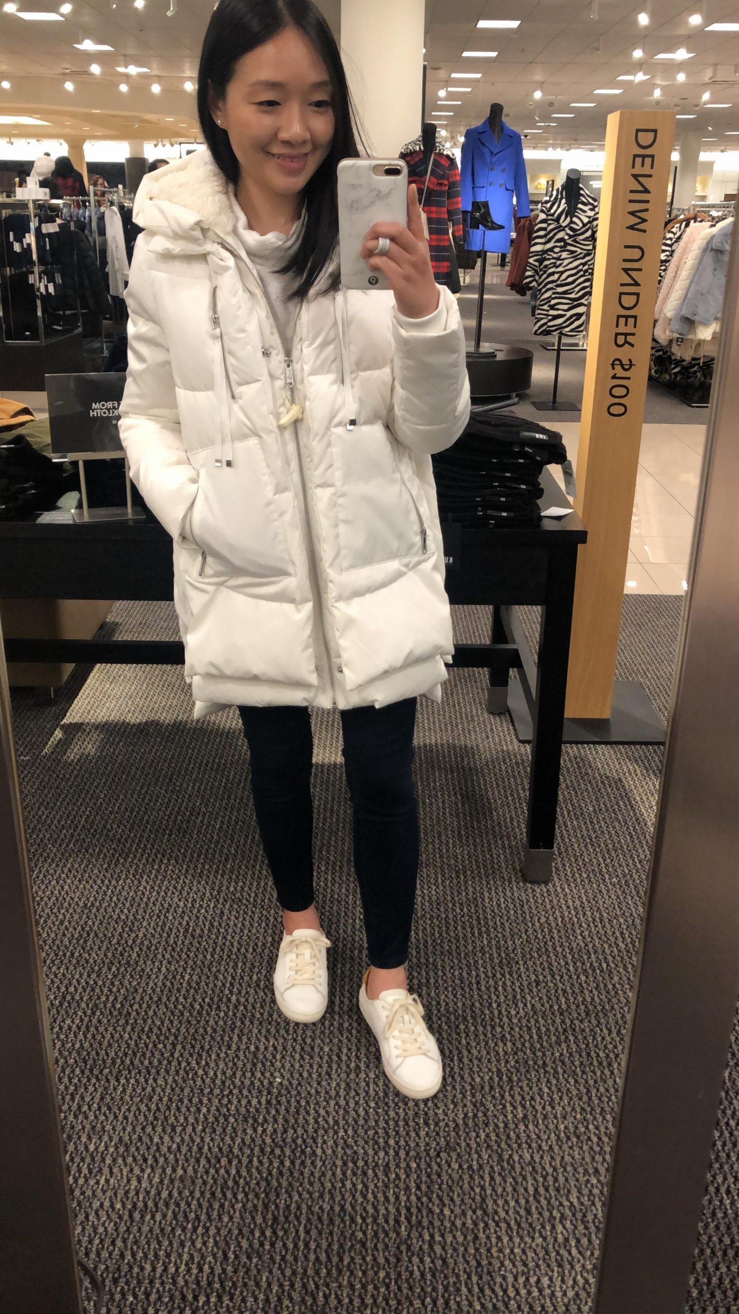 Faux Shearling Lined Puffer Coat, size XXS