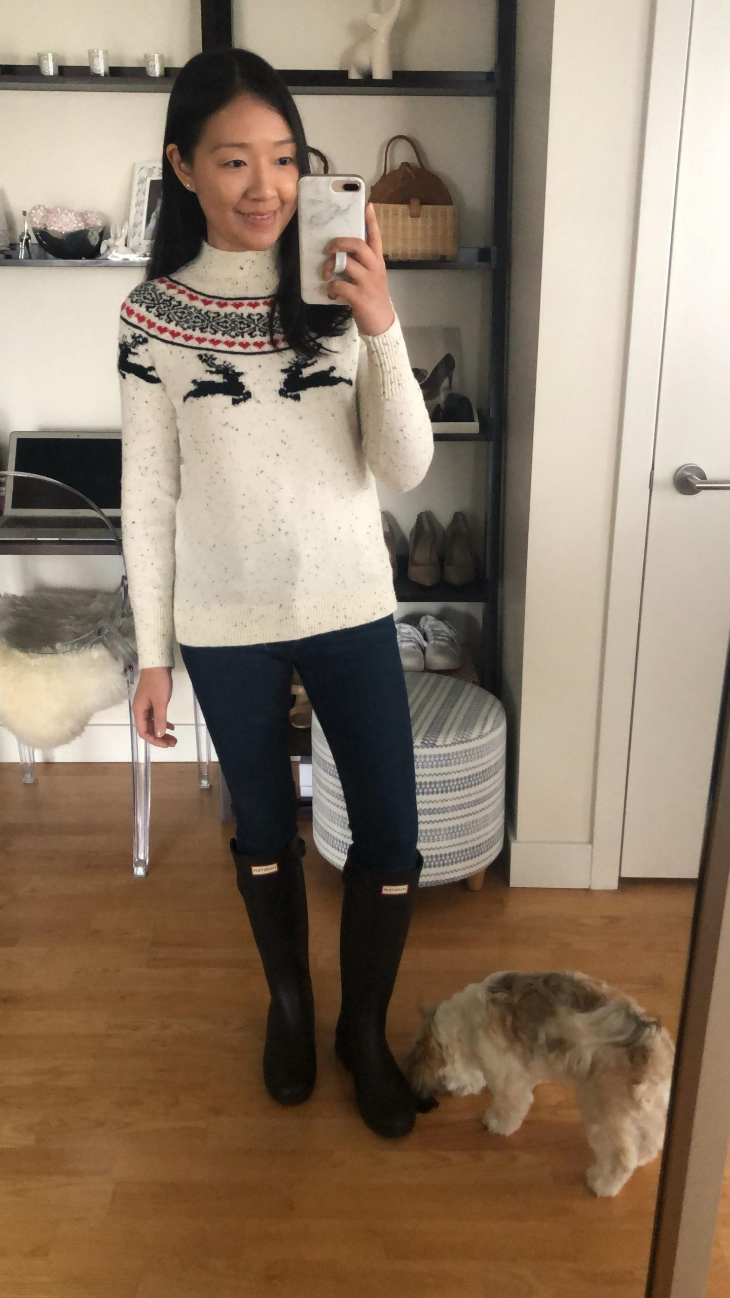 LOFT Reindeer Fairisle Sweater, size XSP