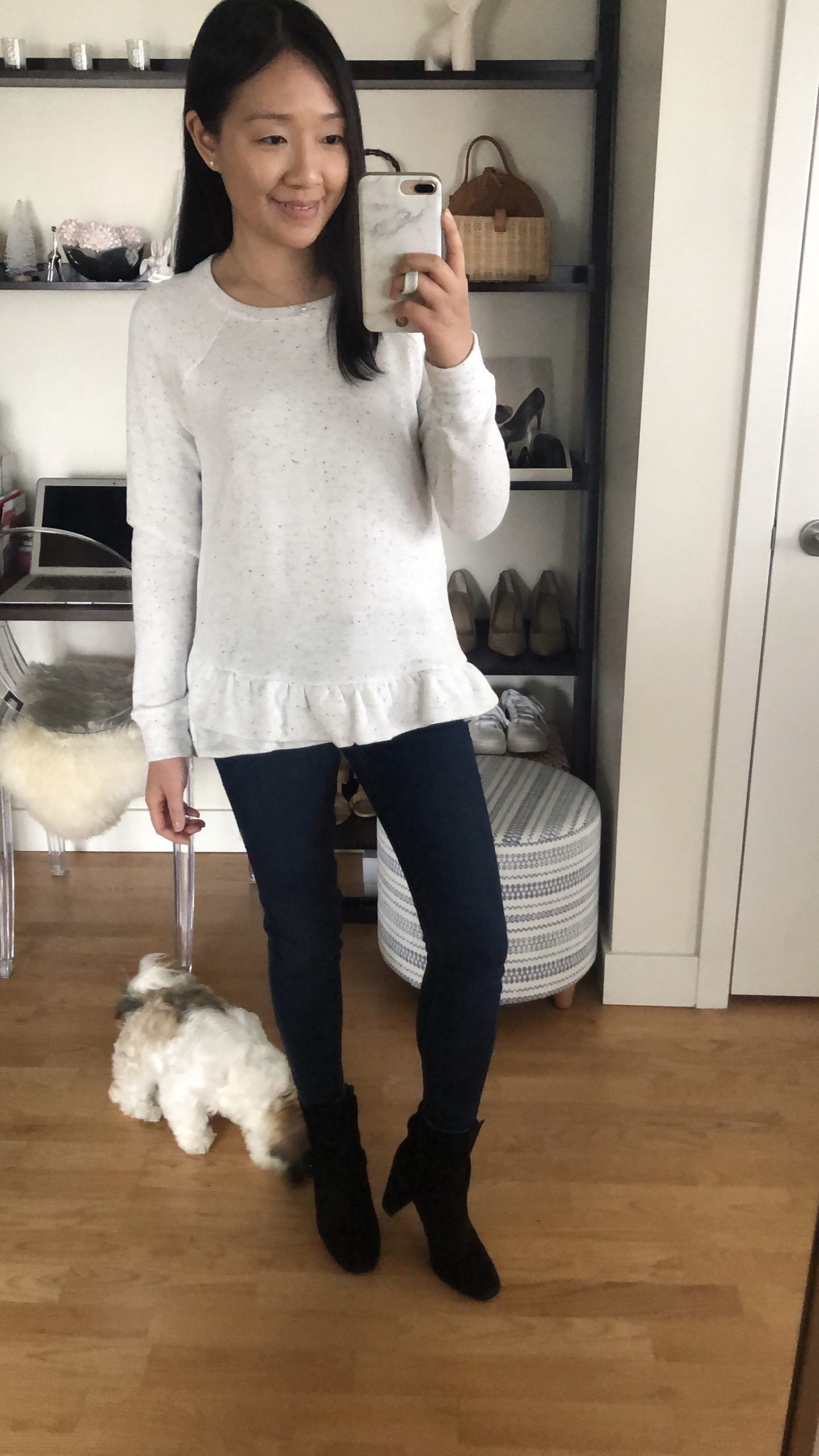 LOFT Flecked Peplum Sweatshirt, size XXS regular