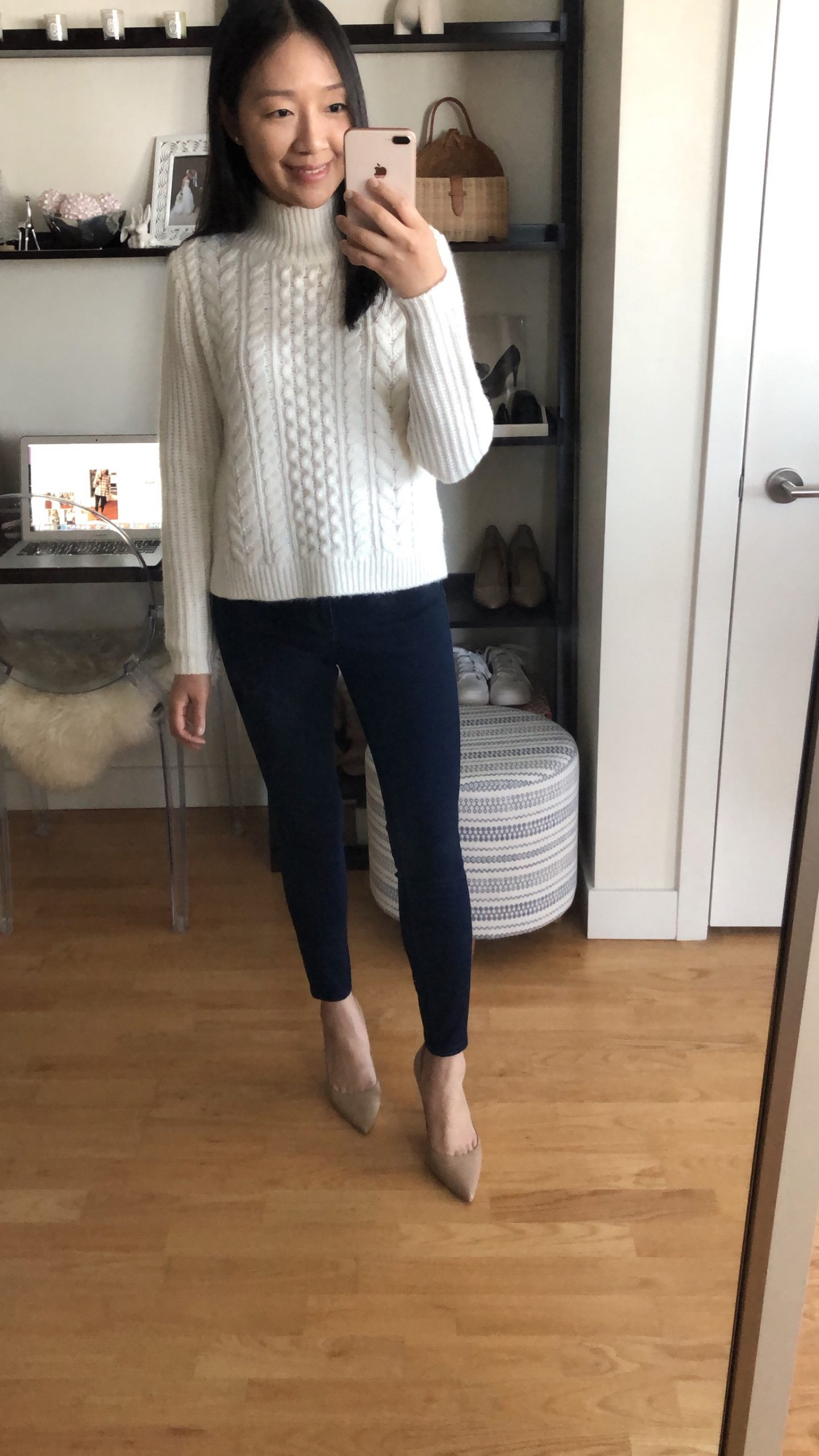 LOFT Cropped Turtleneck Cable Sweater, size XS regular