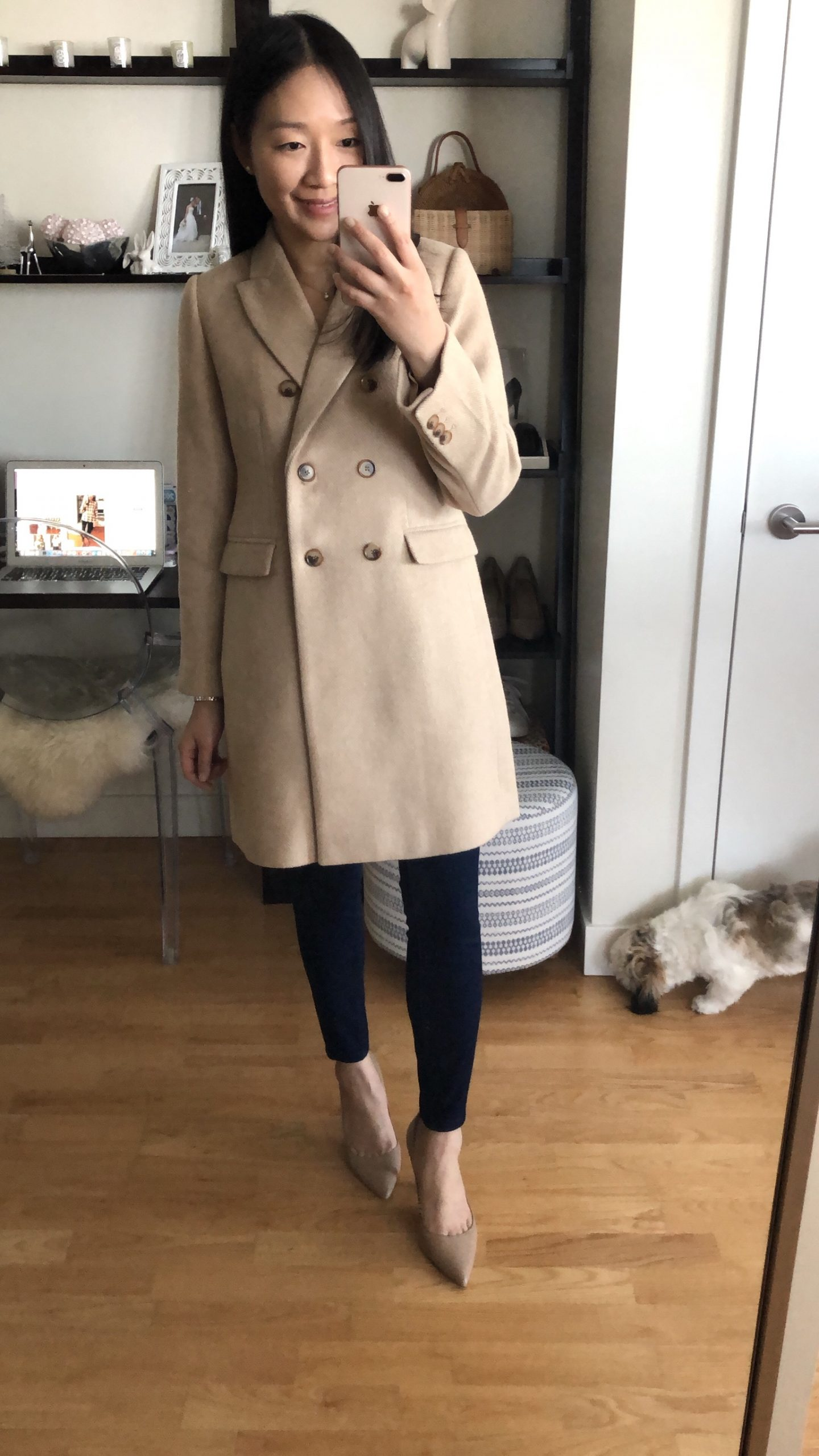 LOFT Wool Twill Double Breasted Coat, size XSP