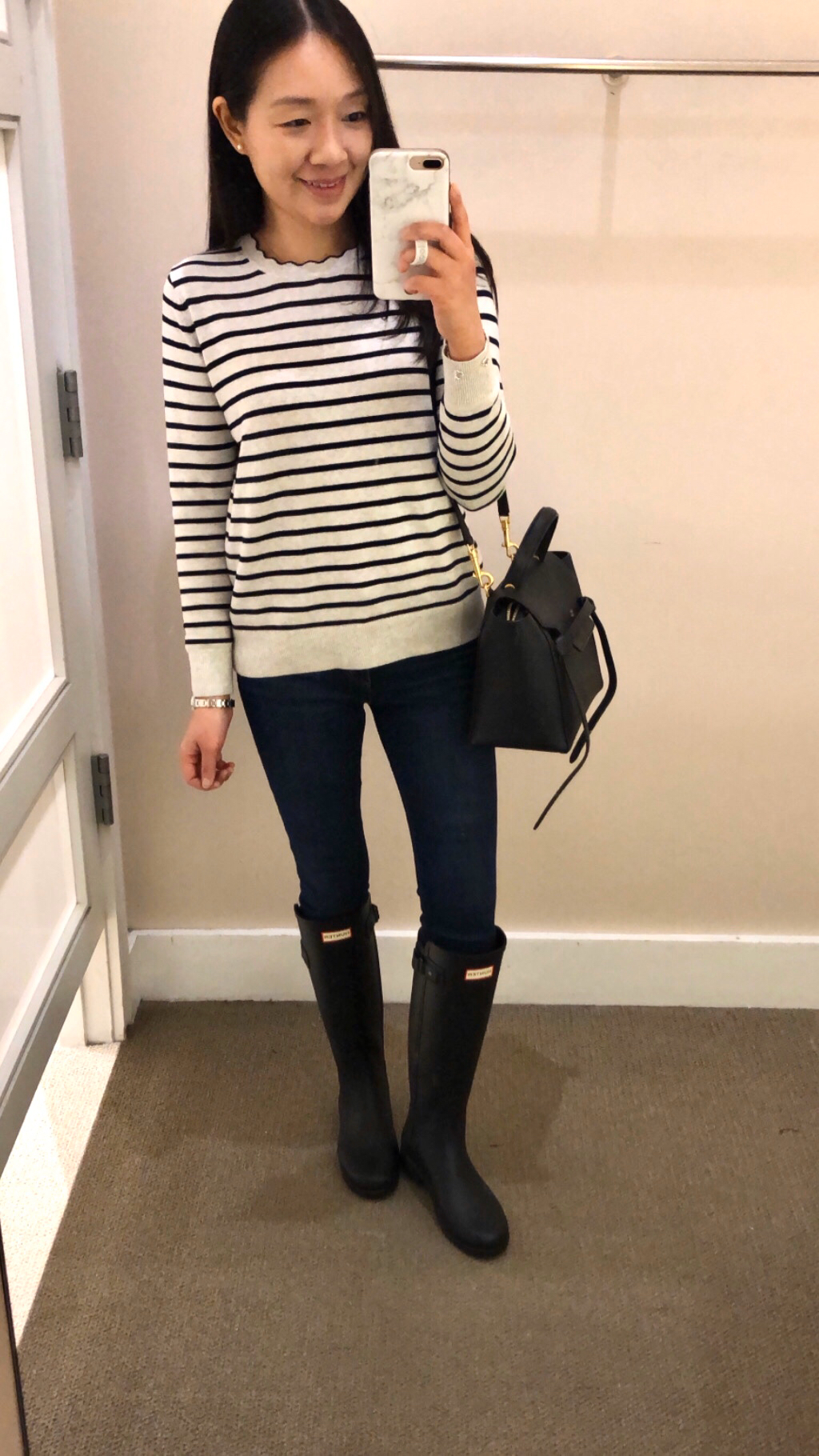 Banana Republic Factory Washable Forever Stripe Scallop Crew-Neck Sweater, size SP