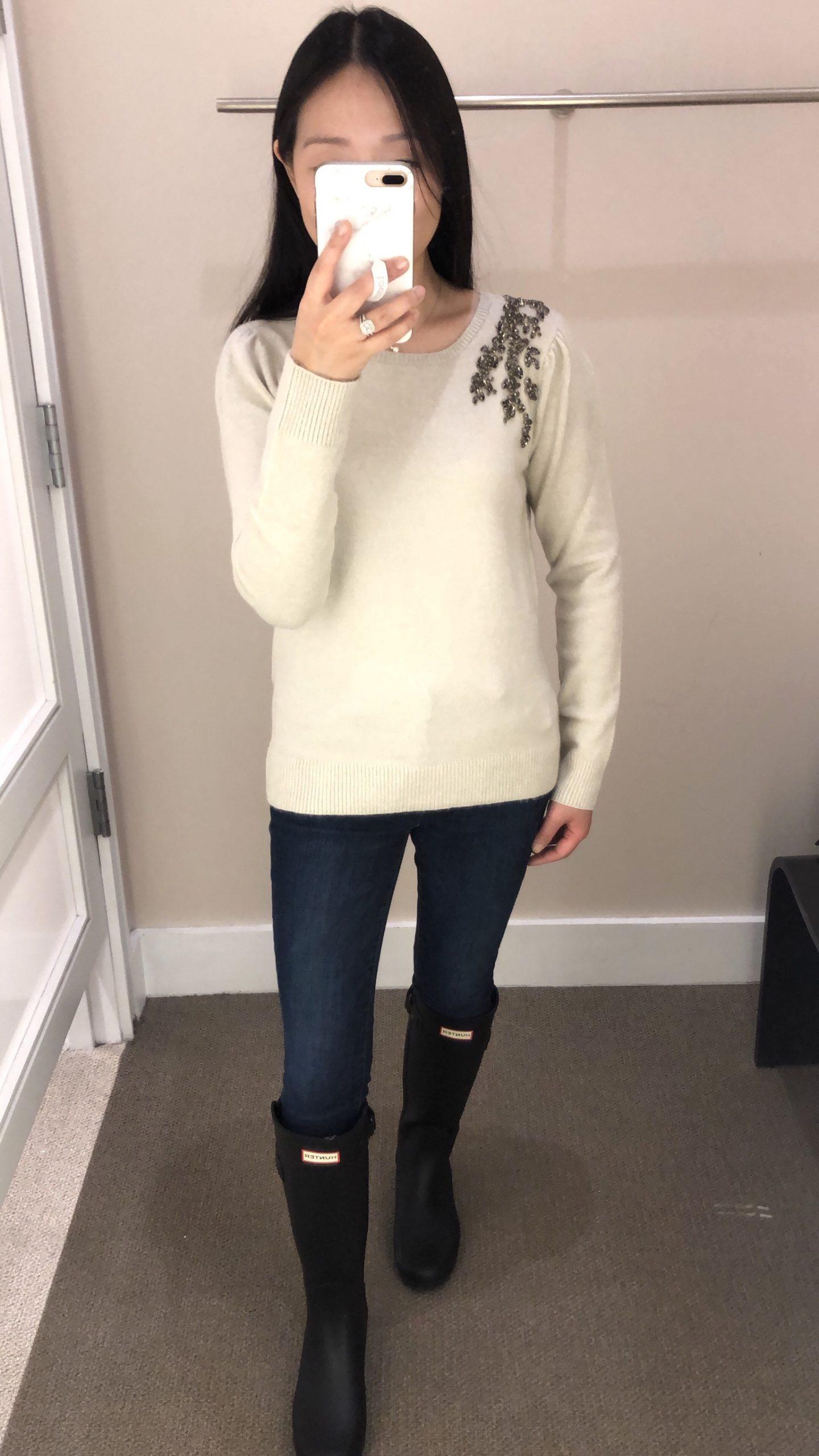 LOFT Crystal Flower Sweater, size XS regular