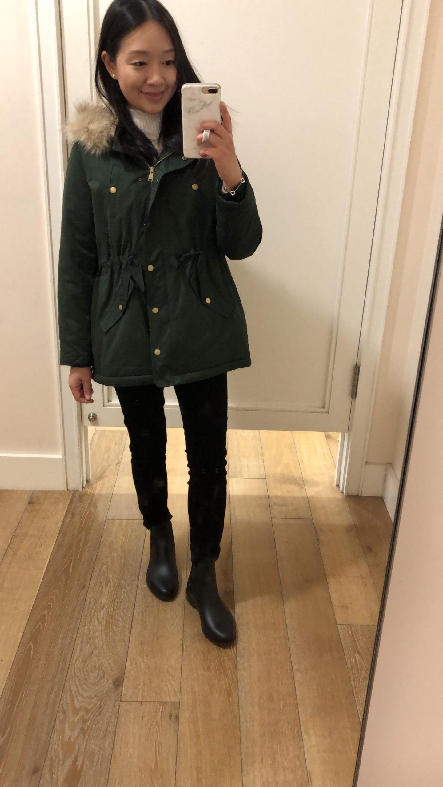 LOFT Faux Fur Lined Hooded Parka, size XSP
