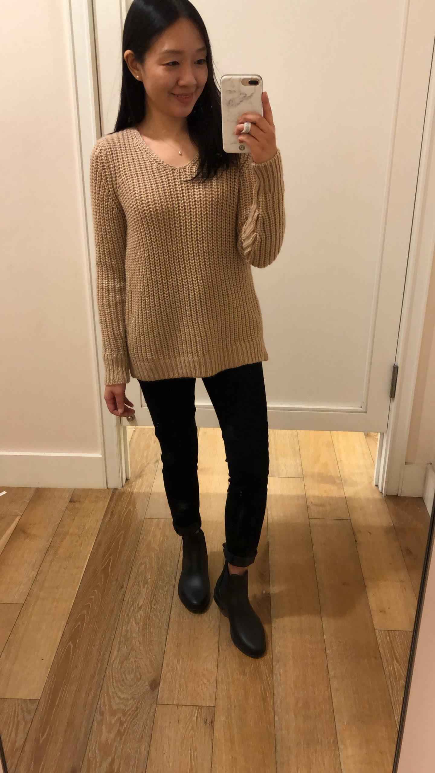LOFT Shimmer V-Neck Sweater, size SP