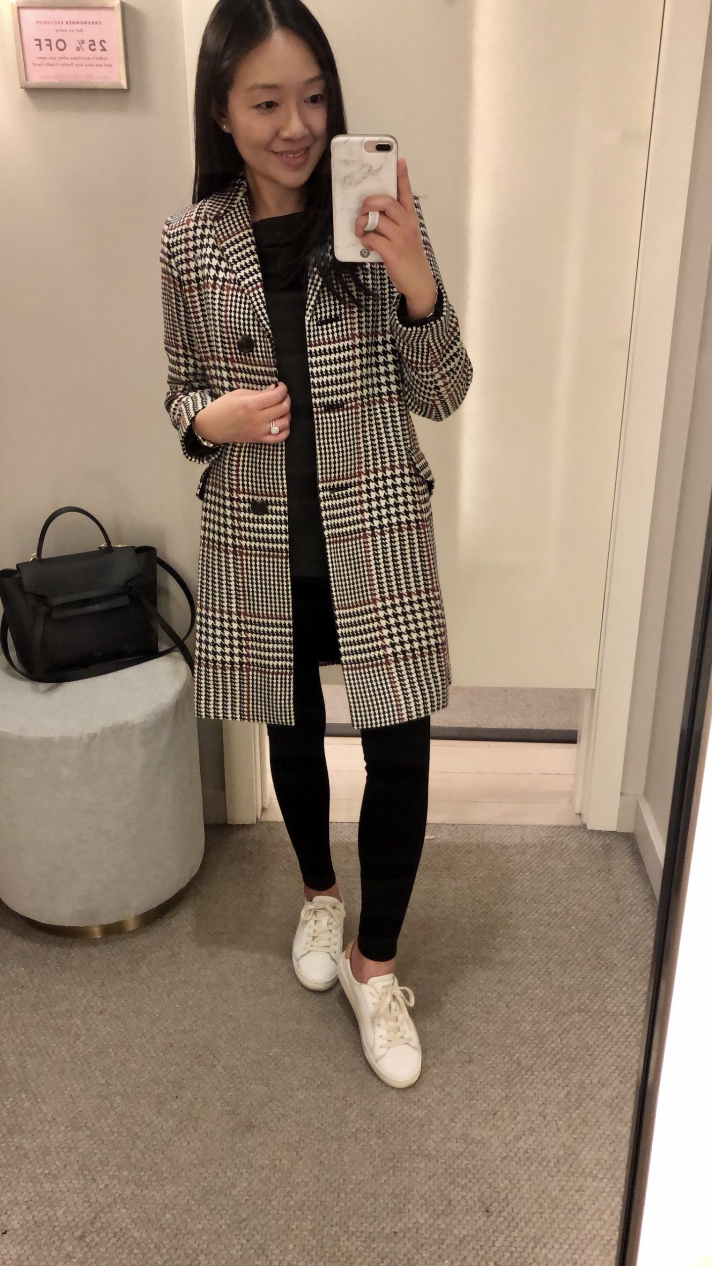 Ann Taylor Plaid Chesterfield Coat, size XSP