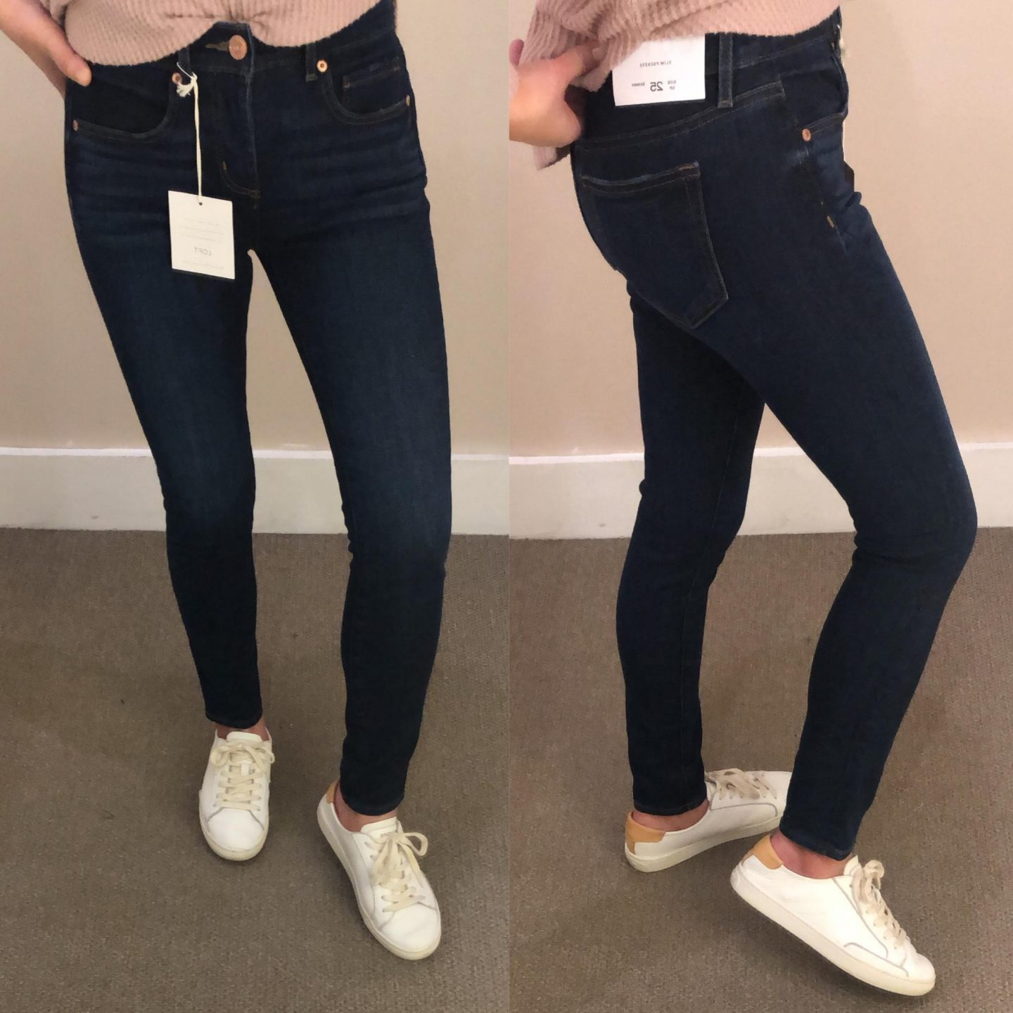 LOFT Slim Pocket Skinny Jeans in Vivid Dark Indigo Wash, size 25/0P