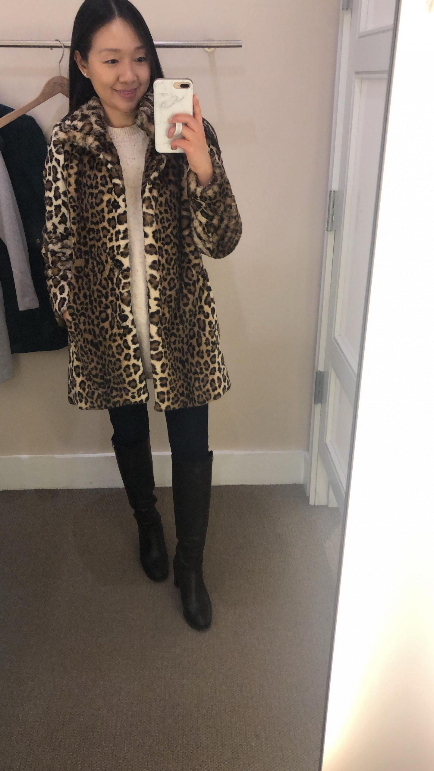 LOFT Leopard Print Faux Fur Funnel Neck Coat, size XSP
