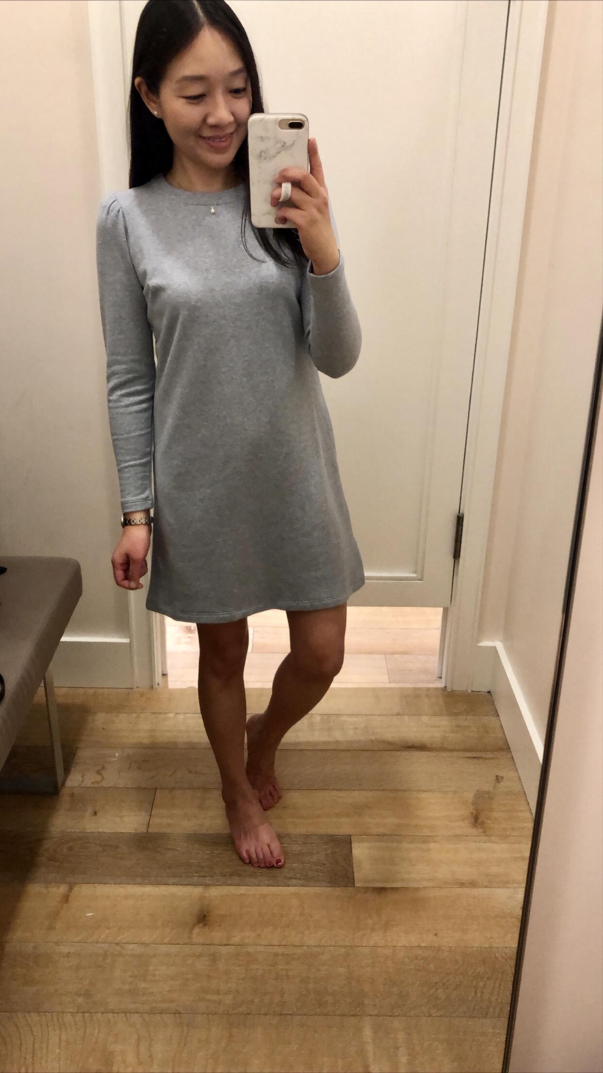 LOFT Puff Sleeve Sweatshirt Dress, size 0P