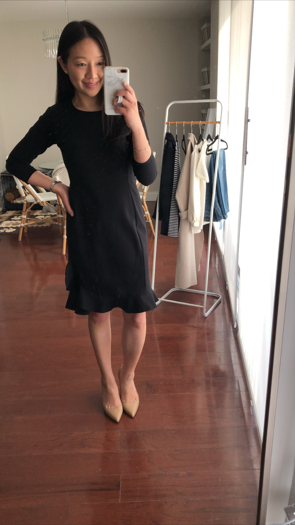 Ann Taylor Ponte Ruffle Hem Dress, size 00 regular