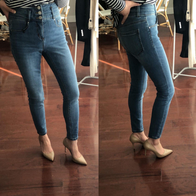 Ann Taylor High Waist Skinny Jeans in Light Stonewash, size 0P