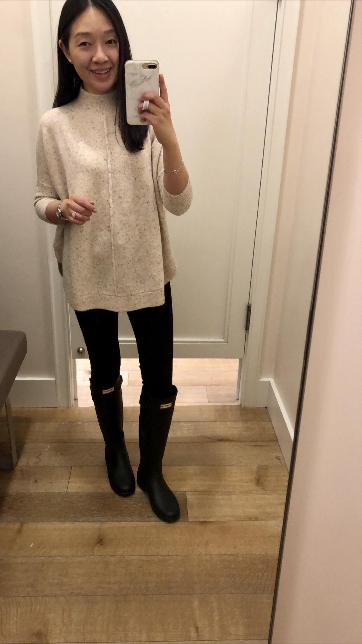 LOFT Flecked Mock Neck Poncho Sweater, size XSP
