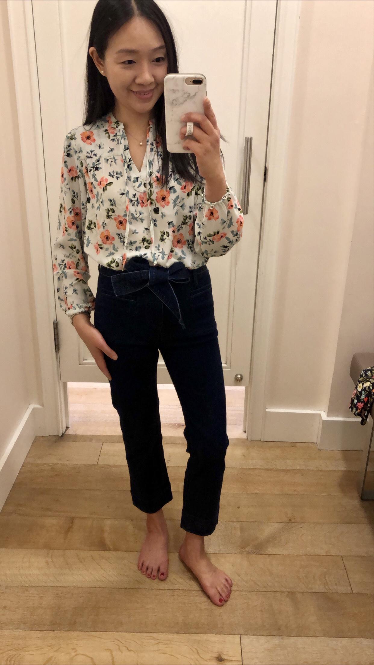 LOFT Floral Shirred Split Neck Blouse, size XSP