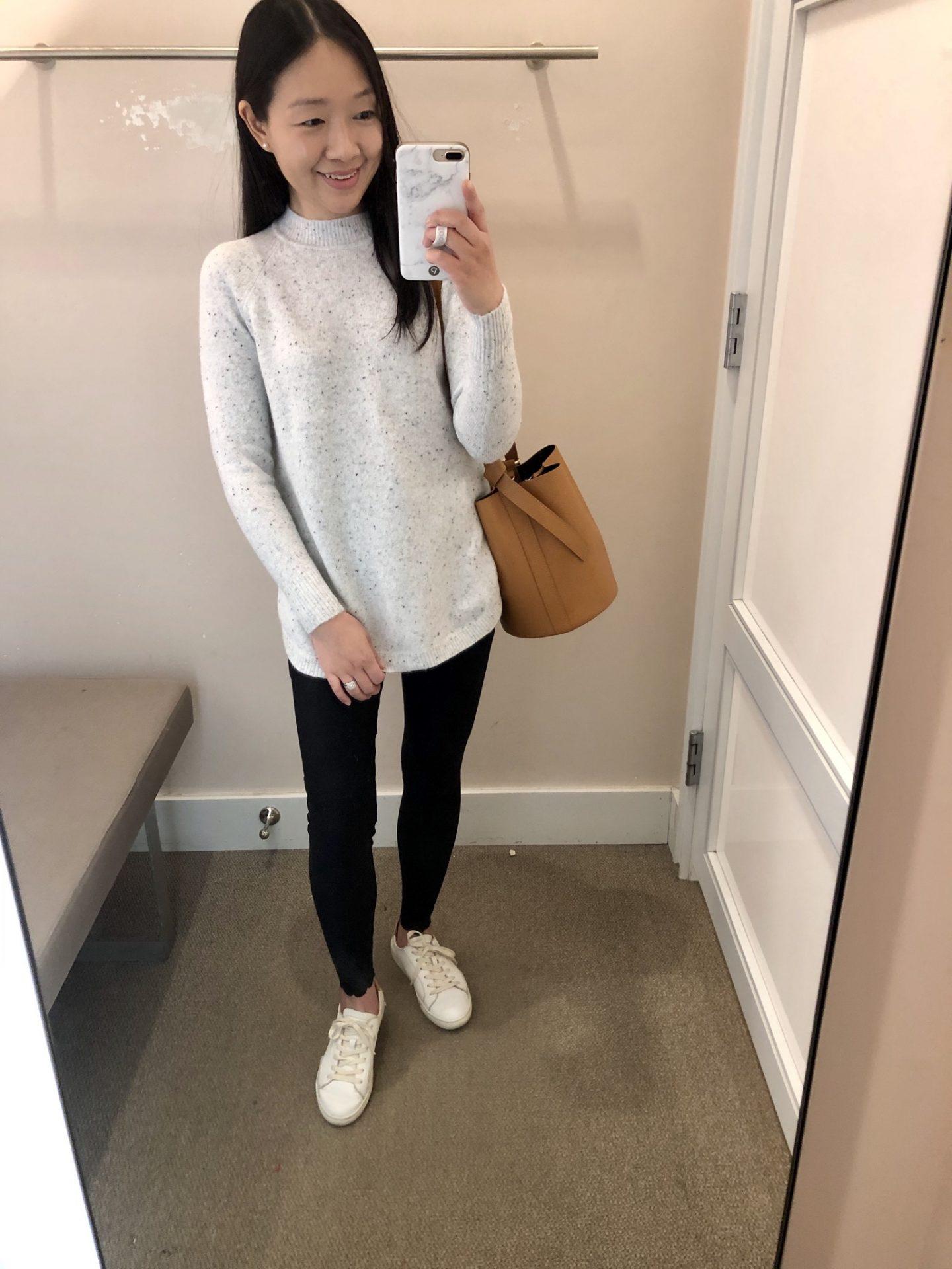 LOFT Flecked Mock Neck Tunic Sweater, size XSP