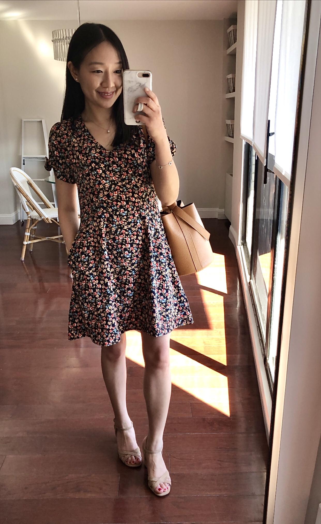 LOFT Floral Tie Sleeve Pocket Flare Dress, size 00 regular