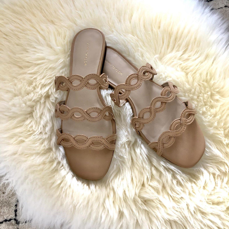 Ann Taylor Minny Wavy Leather Sandals