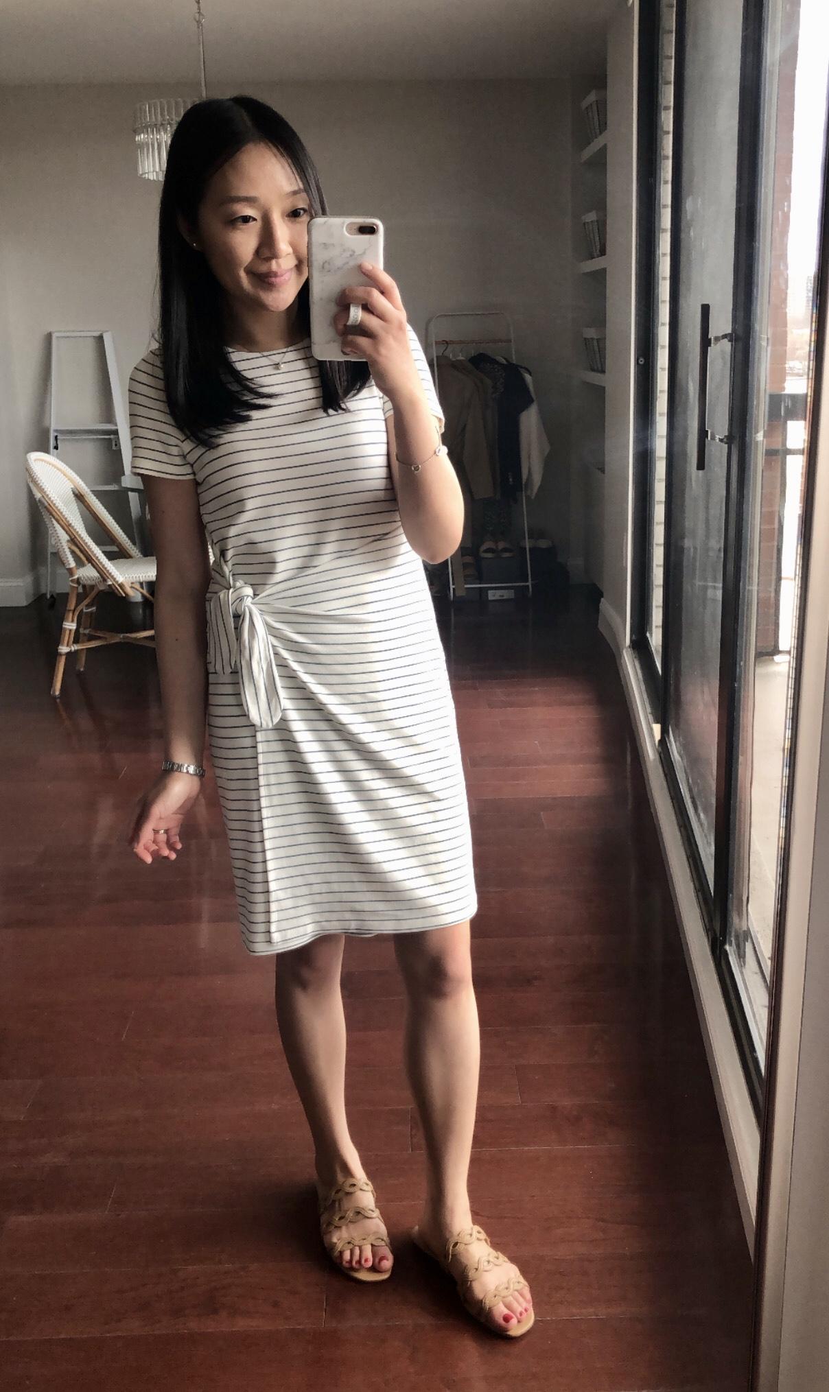 Ann Taylor Striped Side Tie Sheath Dress, size XSP